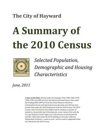 A Summary of the 2010 Census - City of HAYWARD