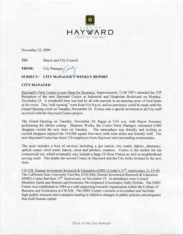 Weekly Report 11/25/09 - City of HAYWARD