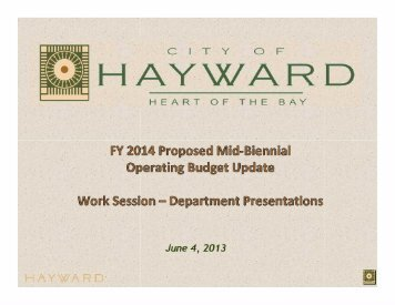 Item #1 FY 2014 Proposed Mid-Biennial Budget Update