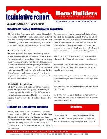 Legislative Bulletin 10 - Home Builders Association of Mississippi