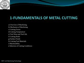 FUNDAMENTALS OF METAL CUTTING