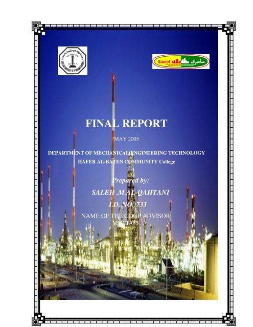 FINAL REPORT - Hafr Al-Batin Community College(HBCC)