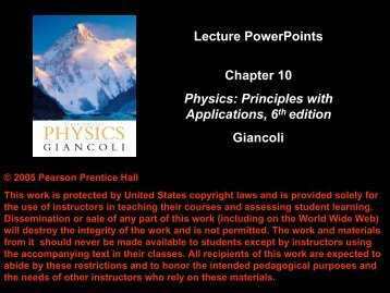 Lecture PowerPoints Chapter 10 Physics: Principles with ...