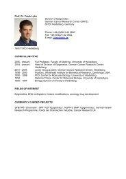 Prof. Dr. Frank Lyko Division of Epigenetics German Cancer ... - HBIGS