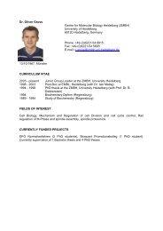 Dr. Oliver Gruss Center for Molecular Biology Heidelberg ... - HBIGS