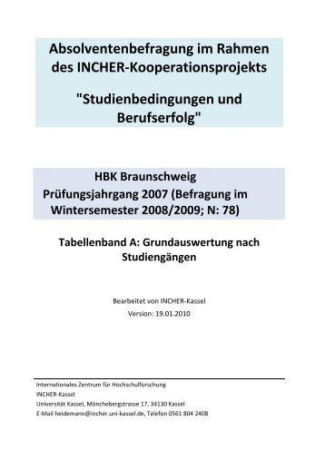 Tabellenband - Hochschule für Bildende Künste Braunschweig