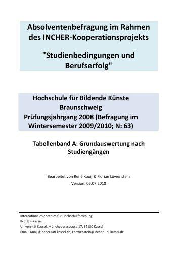 Ergebnisse 2009: Tabellenband - Hochschule für Bildende Künste ...