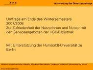 Auswertung der Benutzerumfrage - Hochschule für Bildende Künste ...