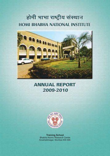 Annual Report 2009-2010 - Homi Bhabha National Institute