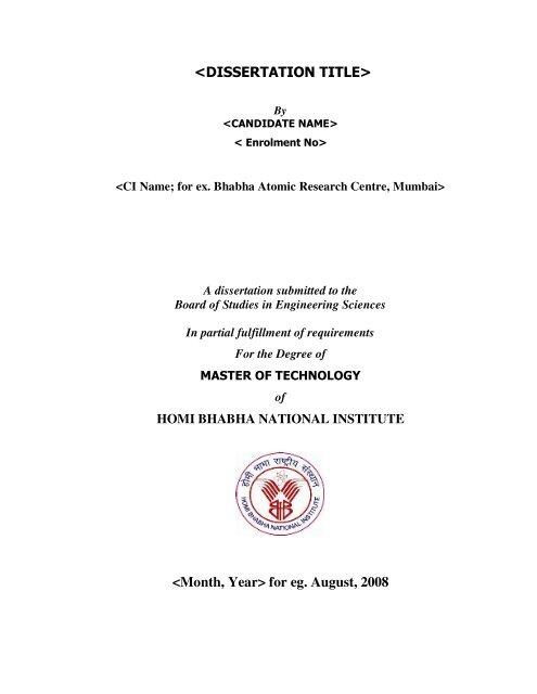 hbni thesis format
