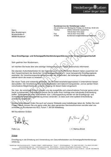muster kundenanschreiben heidelberger leben - Schweigepflichtsentbindung Arzt Muster