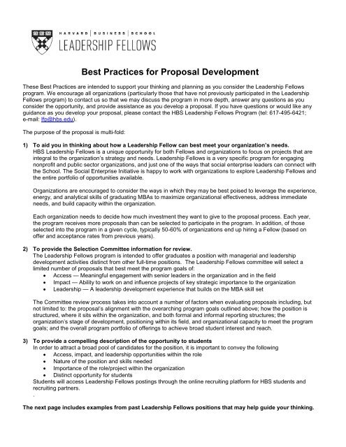 Best Practices for Developing a Proposal - Harvard Business
