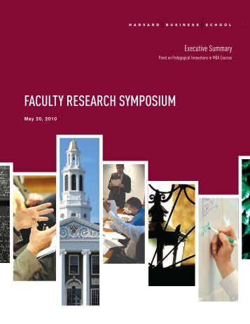 2010 HBS Faculty Research Symposium - Harvard Business School