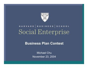 Slides from the Social Enterprise Kick-Off Event - Harvard Business ...