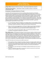 Terms of Reference HBS Field Studies 2009 - Harvard Business ...