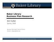 Baker Library Business Plan Research - Harvard Business School