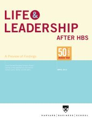 Life and Leadership After HBS - Harvard Business School