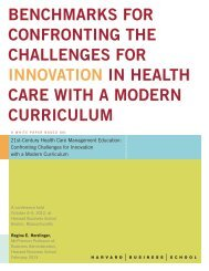 benchmarks for confronting the challenges for innovation in health