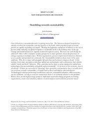 Stumbling towards sustainability - Harvard Business School