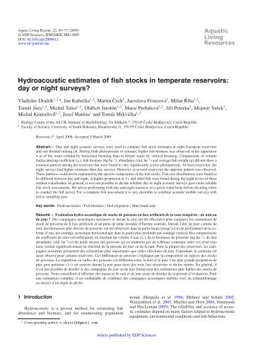 Hydroacoustic estimates of fish stocks in temperate reservoirs: day ...