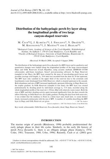 Distribution of the bathypelagic perch fry layer along the longitudinal ...