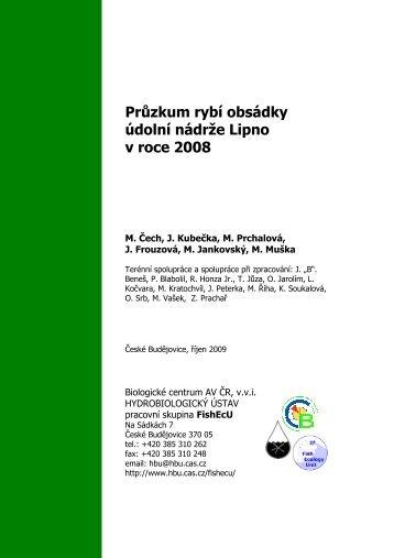 Průzkum rybí obsádky údolní nádrže Lipno v roce 2008