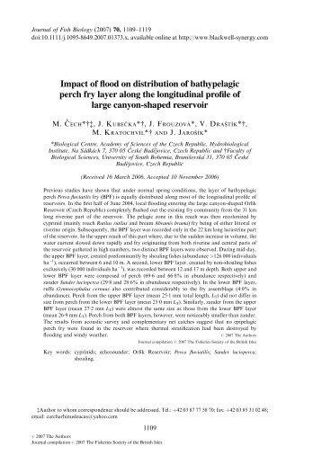 Impact of flood on distribution of bathypelagic perch fry layer along ...
