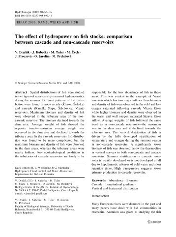 The effect of hydropower on fish stocks: comparison between ...