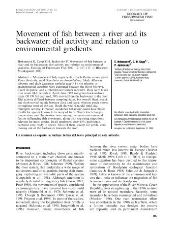 Movement of fish between a river and its backwater - Biology Centre ...