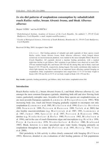 In situ diel patterns of zooplankton consumption by subadult/adult ...