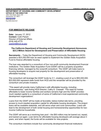 Department of Housing and Community Development - California ...