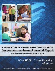 annual financial report - Harris County Department of Education