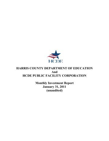 unaudited - Harris County Department of Education