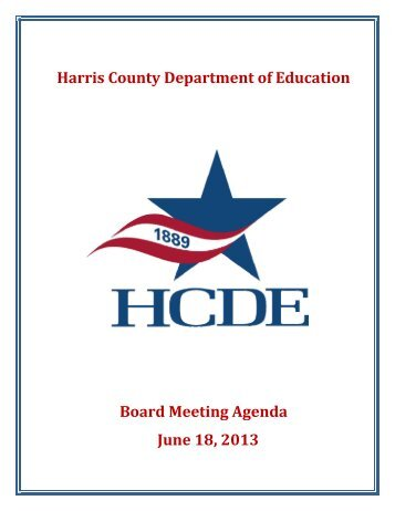Harris County Department of Education Board Meeting Agenda ...