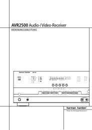 AVR2500Audio-/Video-Receiver - Aerne Menu