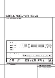 AVR 430Audio-/Video-Receiver - Aerne Menu