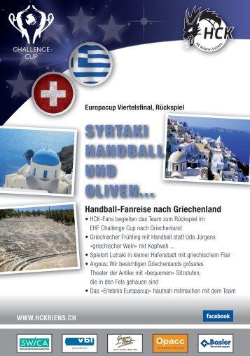 Info-Flyer zur Fanreis enach Griechenland - HC Kriens-Luzern
