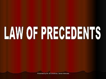 LAW OF PRECEDENTS - Madras High Court