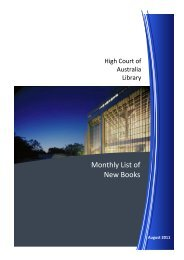 HCA New Books August 2011 - High Court of Australia