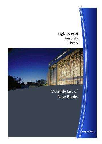 HCA New Books August 2011 - High Court of Australia