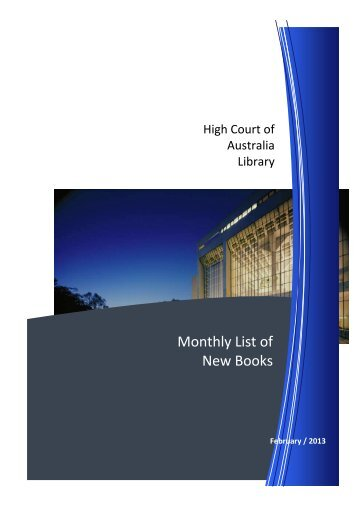Monthly List of New Books - High Court of Australia