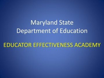 Presentation on the Educator Effectiveness Academy