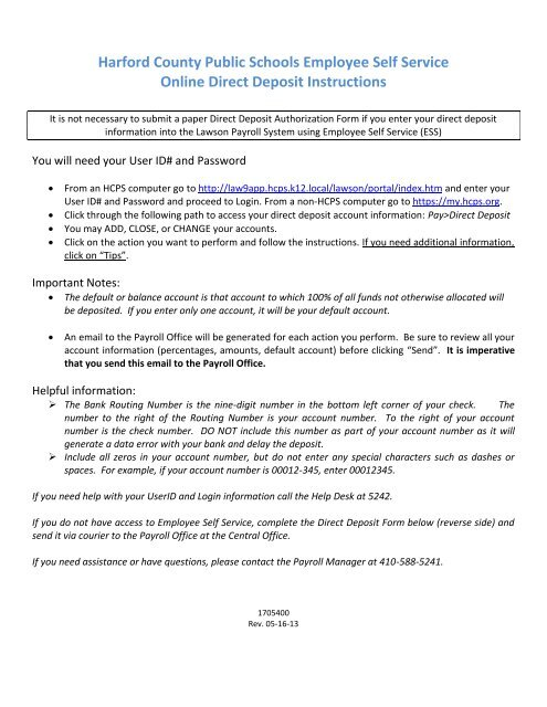 employee direct deposit form  Employee Direct Deposit Form - Harford County Public Schools