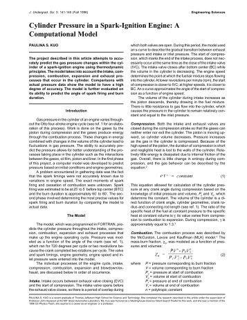 Cylinder Pressure in a Spark-Ignition Engine - Harvard Computer ...