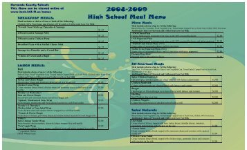 Combined High School Menus