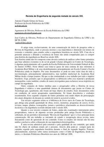 Revista de Engenharia da segunda metade do ... - HCTE - UFRJ