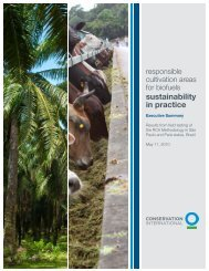 Responsible Cultivation Areas for Biofuels - Conservation International