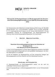 Ordnung über die Eingangsprüfung - HafenCity Universität Hamburg