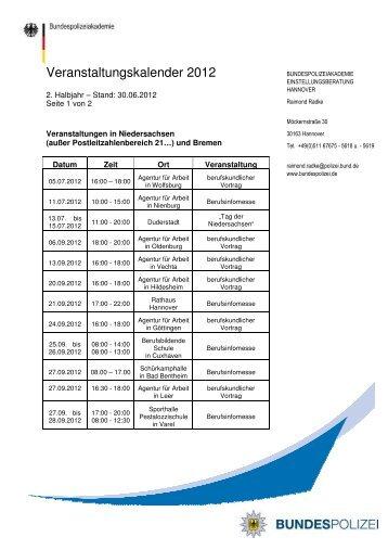 Veranstaltungskalender 2. Halbjahr 2012 Hannover - Bundespolizei