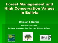 Forest Management and High Conservation Values in Bolivia